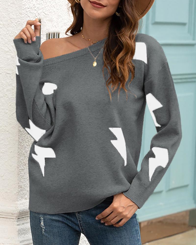 Long Sleeve Thunder Print Sweater фото