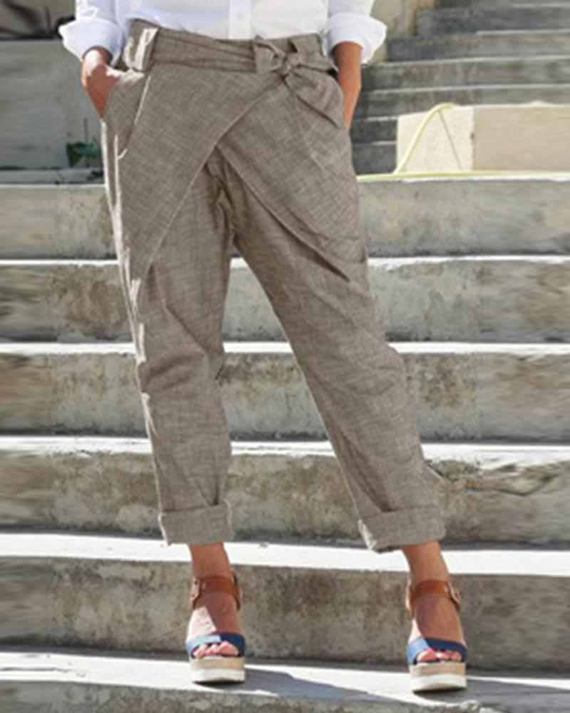 boutiquefeel / Pantalones de cintura cruzada con diseño cruzado