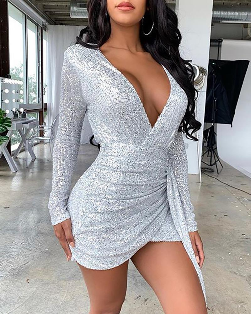 Sequins Long Sleeve Ruched Dress фото