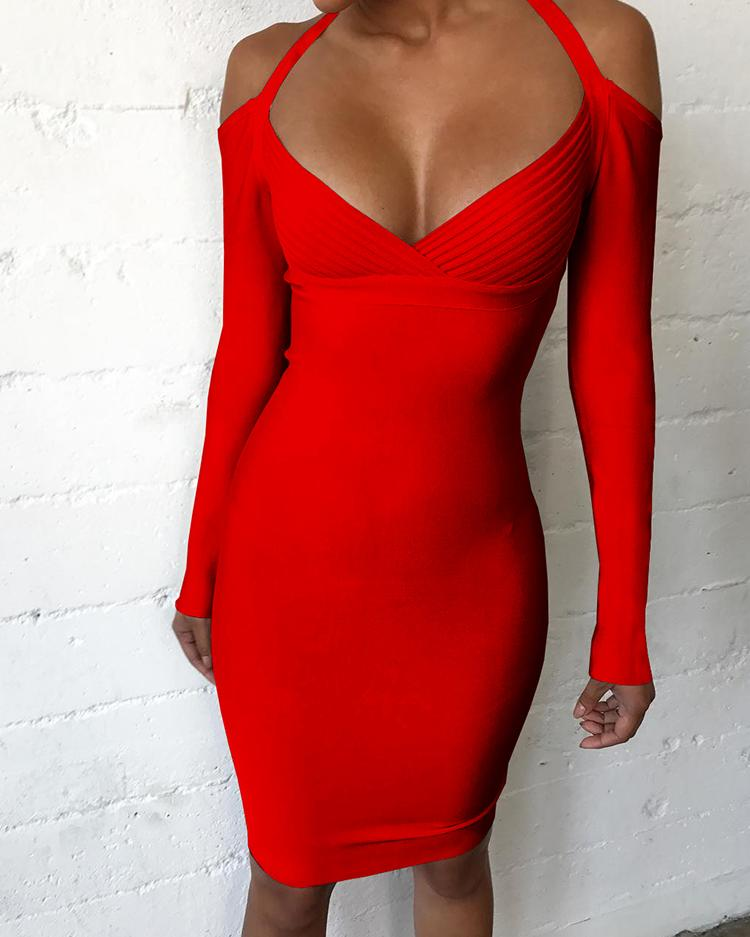Sexy Deep V Plain Bodycon Dress фото