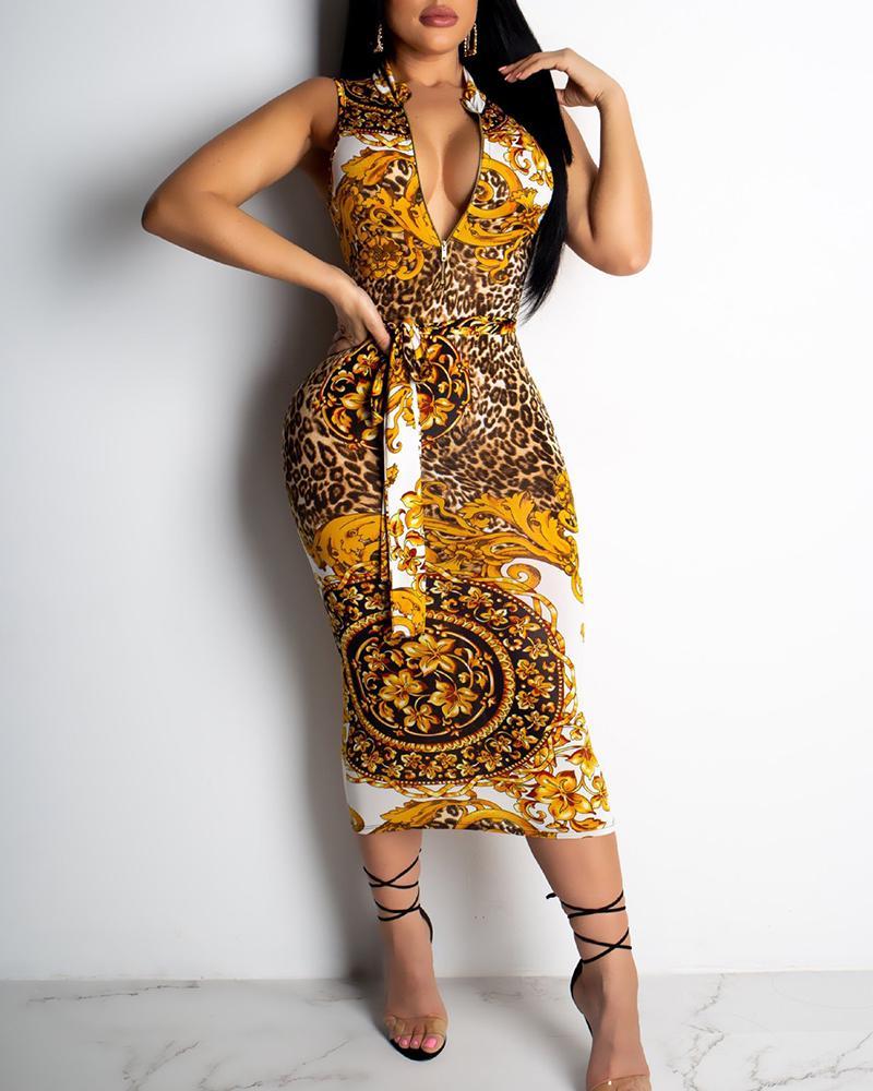 Ethnic Print Zipper Design Midi Dress фото