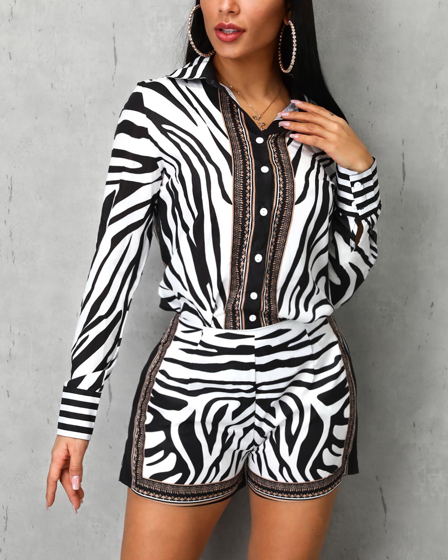 Zebra Print Buttoned Shirt & Zipper Short Sets фото