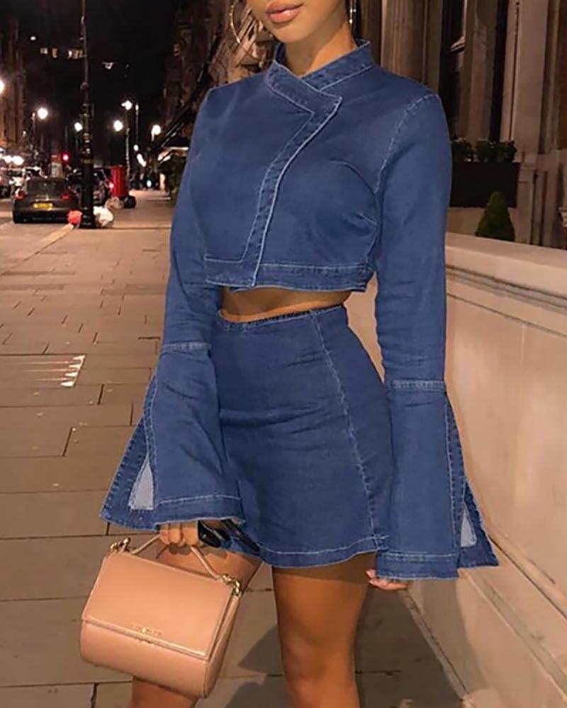 Bell Slit Cuff Denim Crop Top & Skirt Sets фото