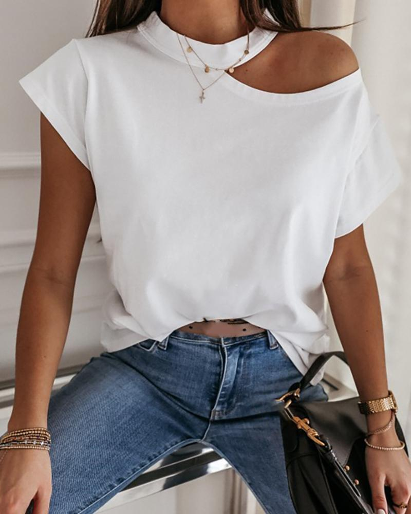 Cold Shoulder Short Sleeve Casual T-shirt фото