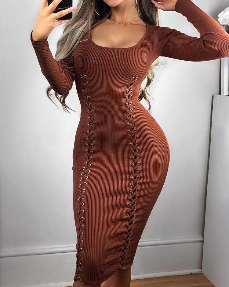 Eyelet Lace-Up Design Bodycon Dress