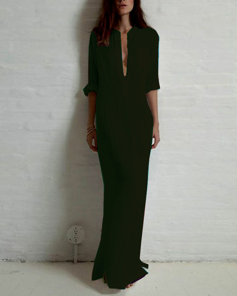 Long Sleeve Deep V Split Maxi Dress