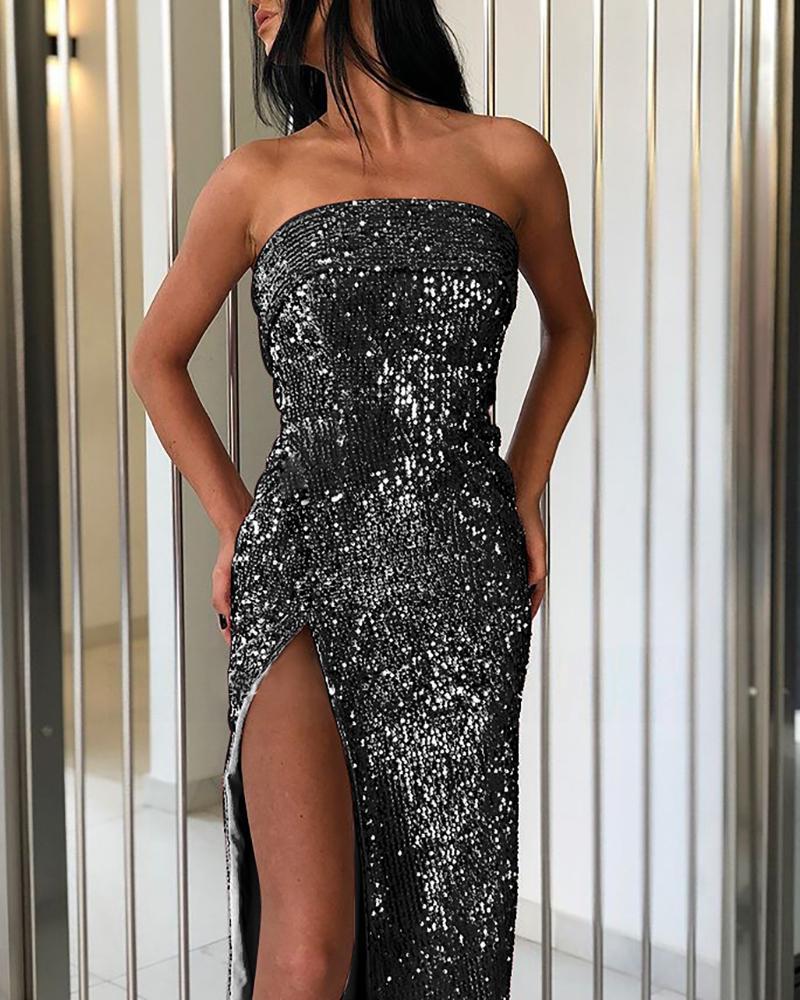 boutiquefeel / Tubo de fenda alta Sequins Dress