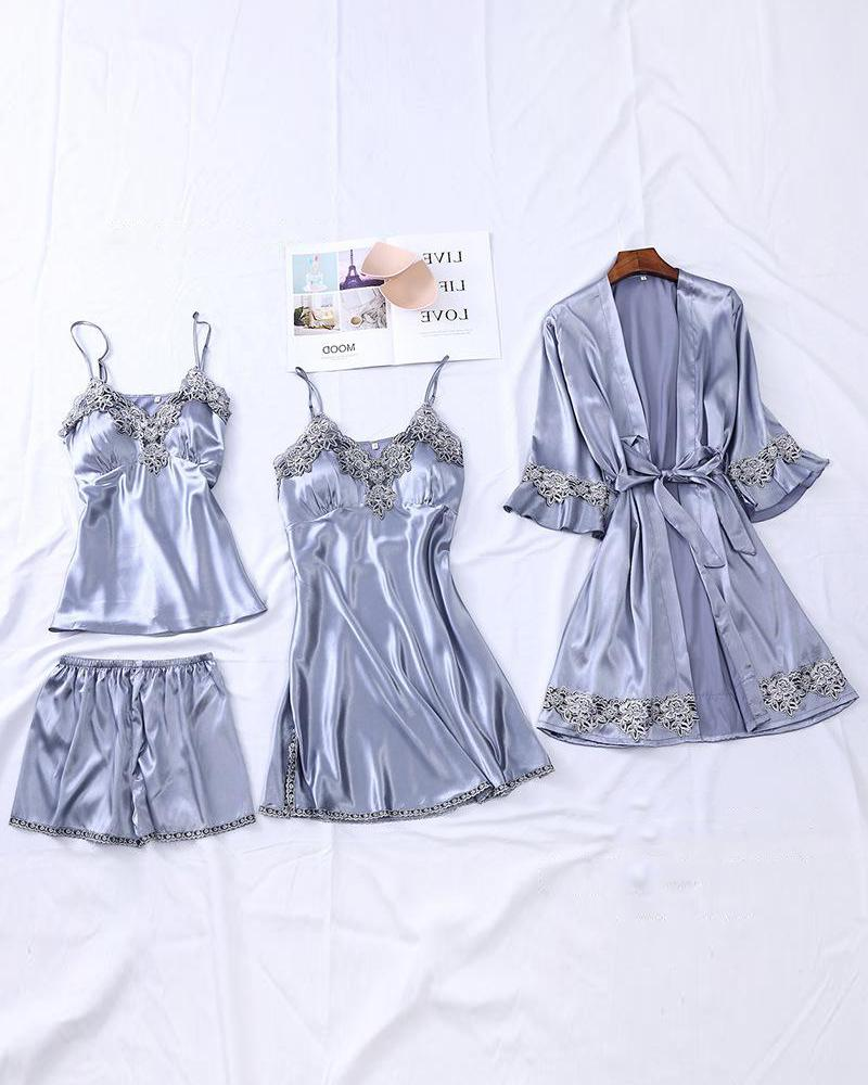 Satin Lace-Trim 4-Piece Pajama Set фото