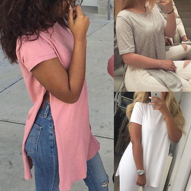 New Hot Women's Solid Color Blouse Fashion Split Round Neck Short Sleeve T-shirt