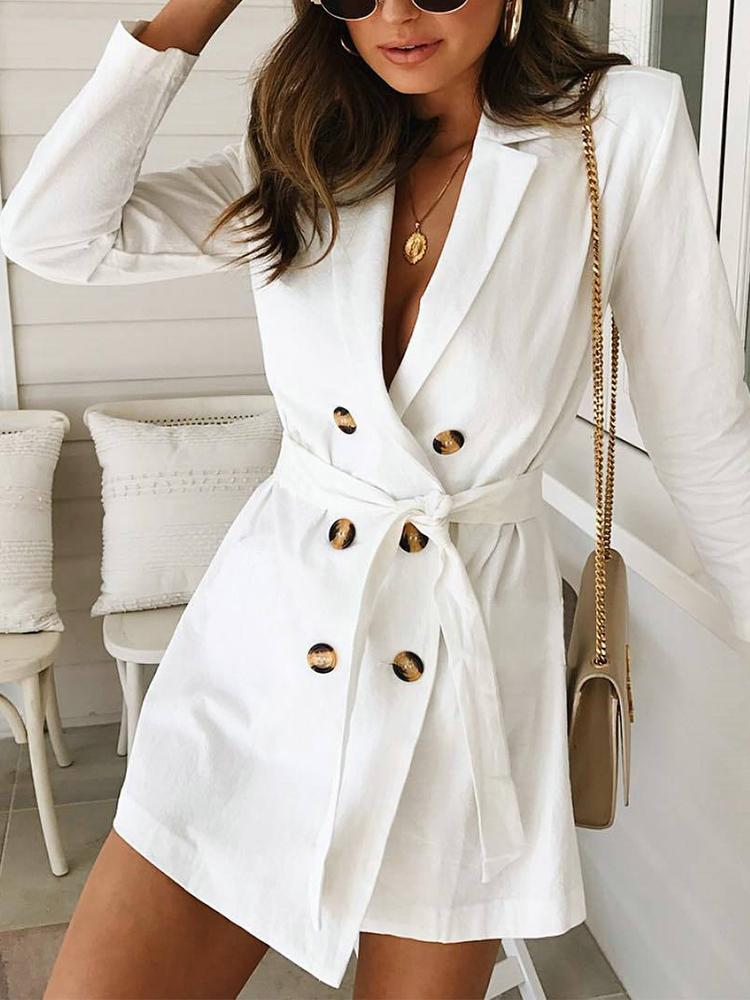 chicme / Solid Double Breasted Belted Blazer Dress