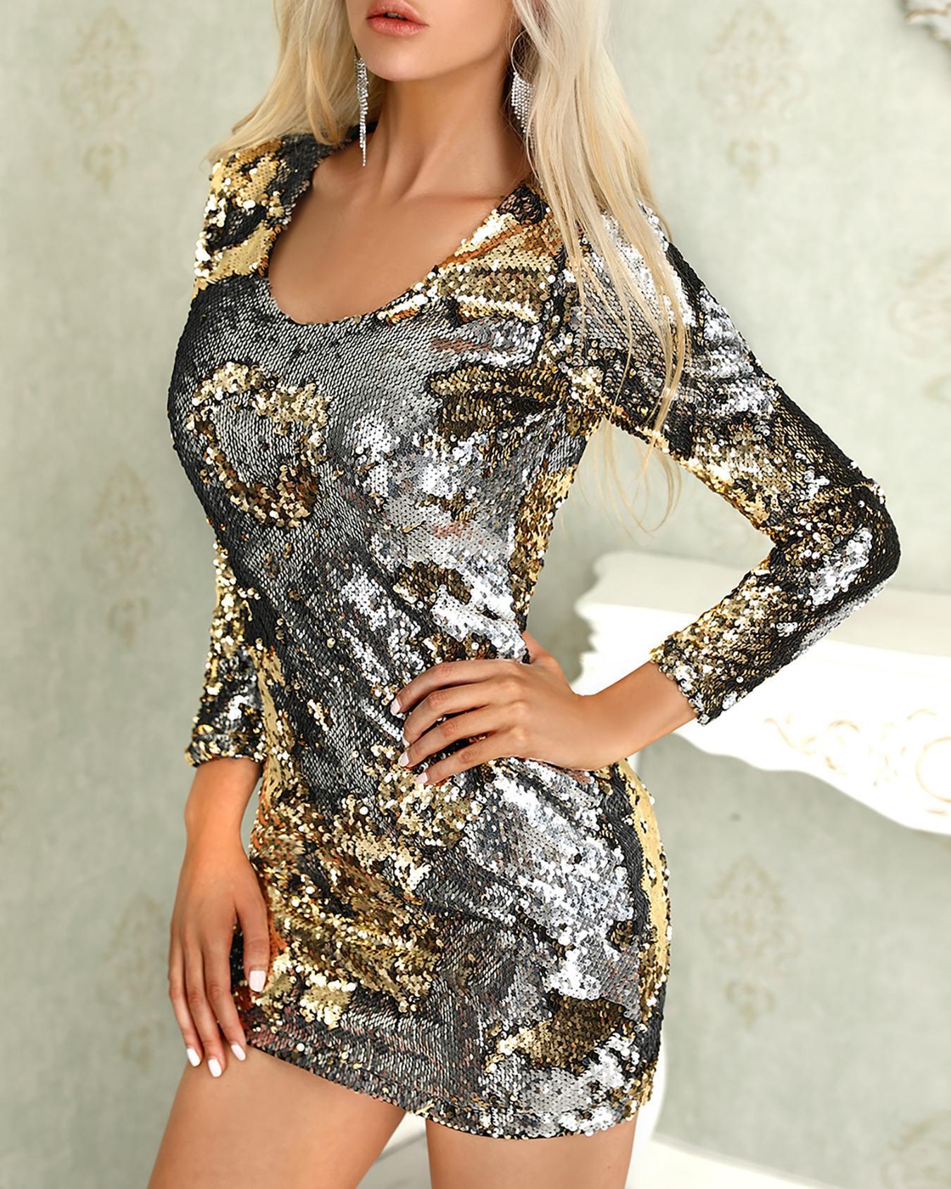 boutiquefeel / Vestido de fiesta de lentejuelas sin respaldo de manga larga
