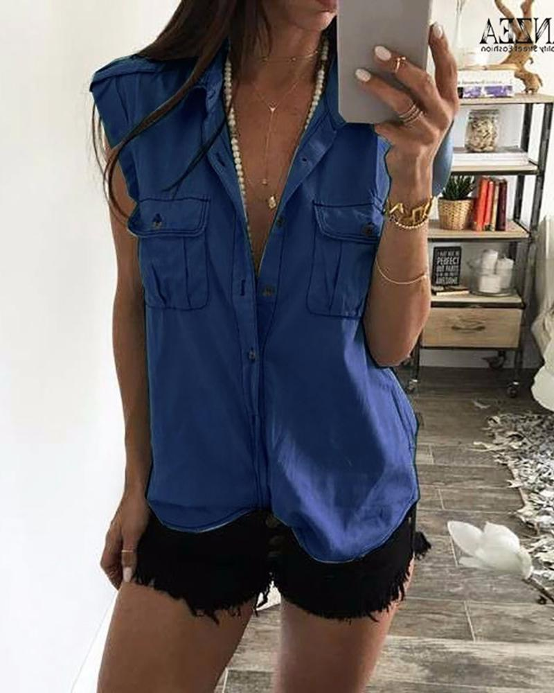 Denim Dual Pocket Buttoned Casual Shirt фото