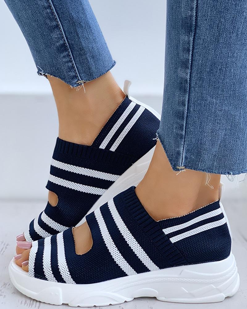 chicme / Listrado Colorblock Peep Toe Wedge sandálias de salto