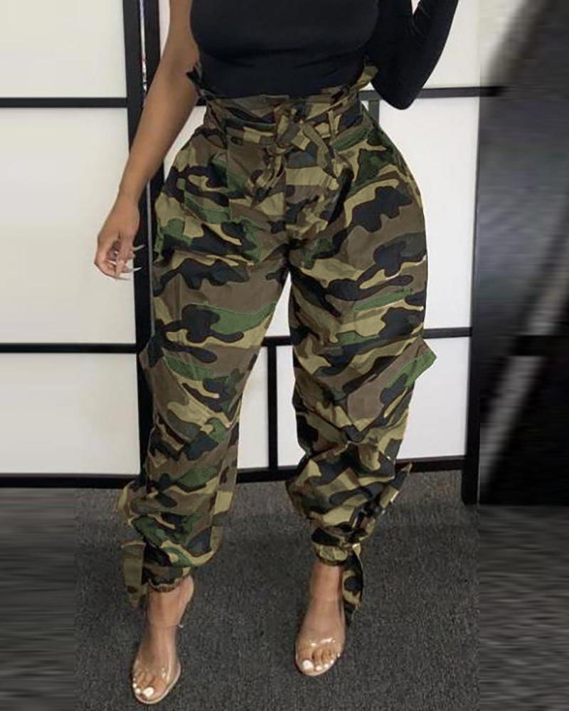 Camouflage Tie Design High Waist Pants фото