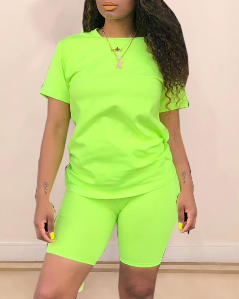 Solid Short Sleeve Sporty Top & Short Set фото