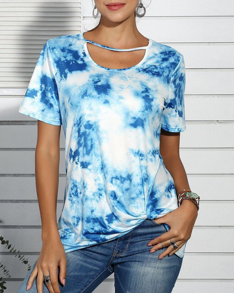 Tie Dye Print Cut Out Design Casual T-shirt фото
