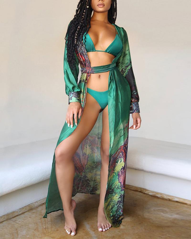 Three-piece Print Bikini Suit Bra Panties Long Sleeves Swimsuit фото
