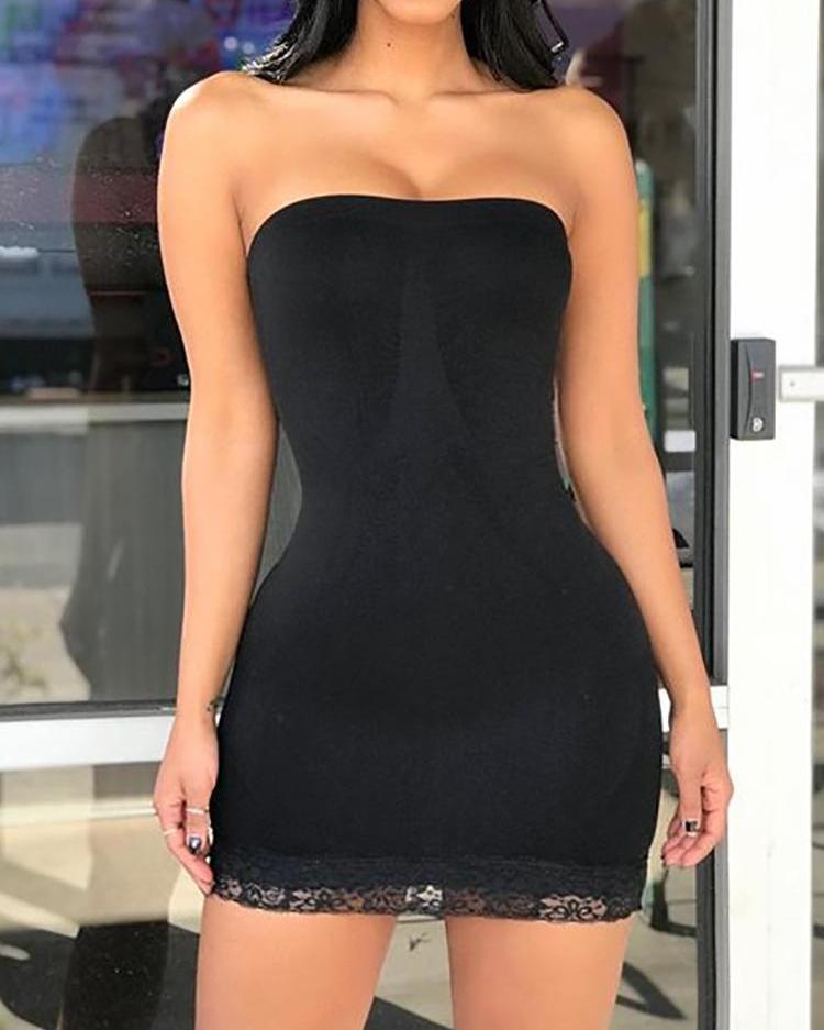 Sexy Lace Guipure Bodycon Tube Dress фото