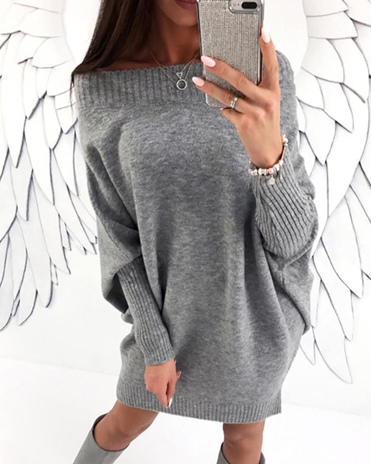 Купить со скидкой Stylish Long Sleeve Solid Baggy Sweater Dress