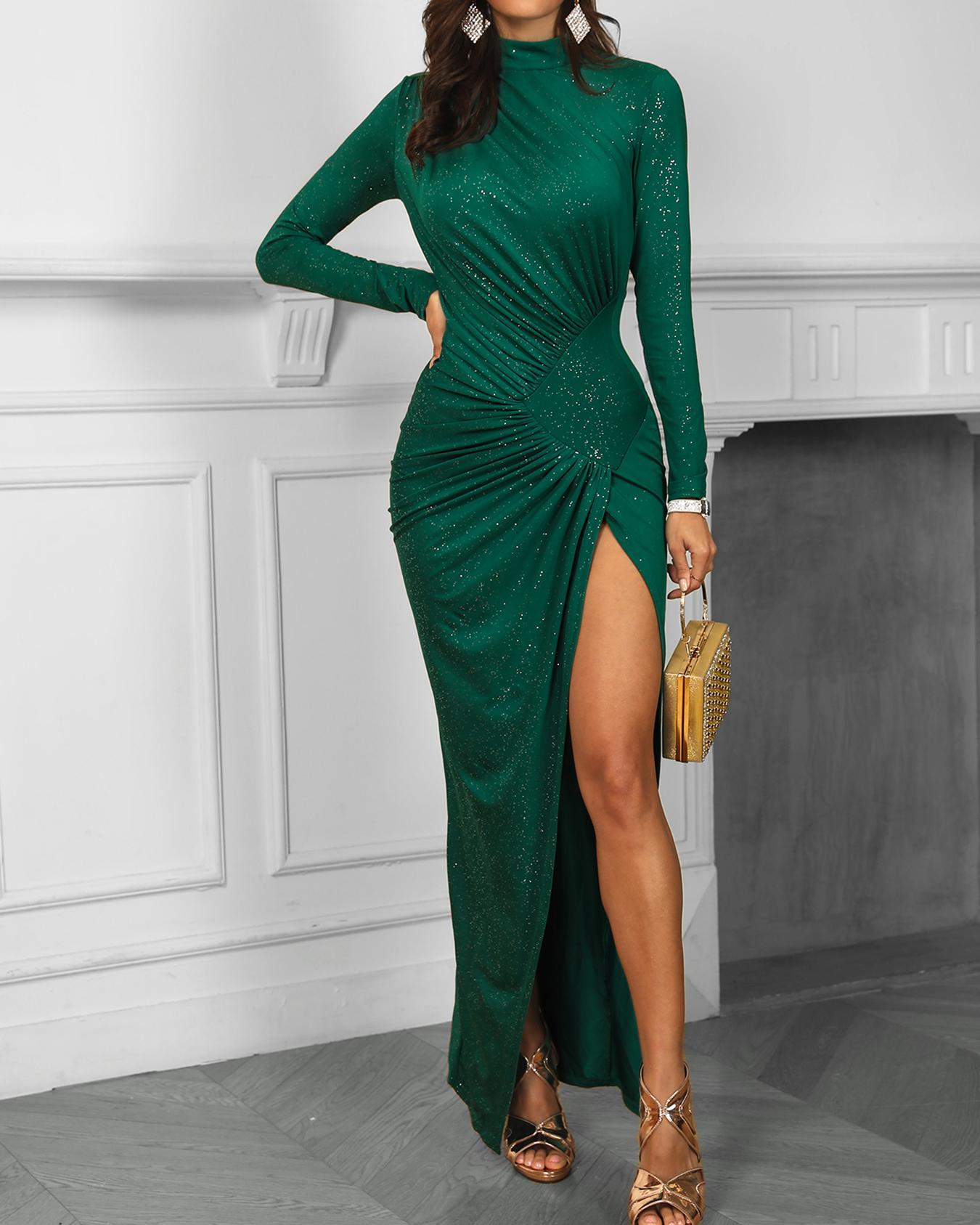 Glitter Ruched Design Thigh Slit Evening Dress