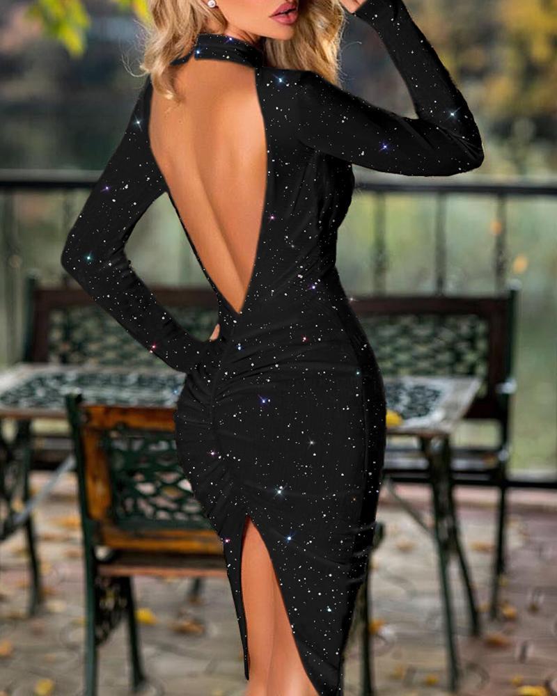 chicme / Vestido ajustado con aberturas fruncidas y escote redondo sin espalda con purpurina