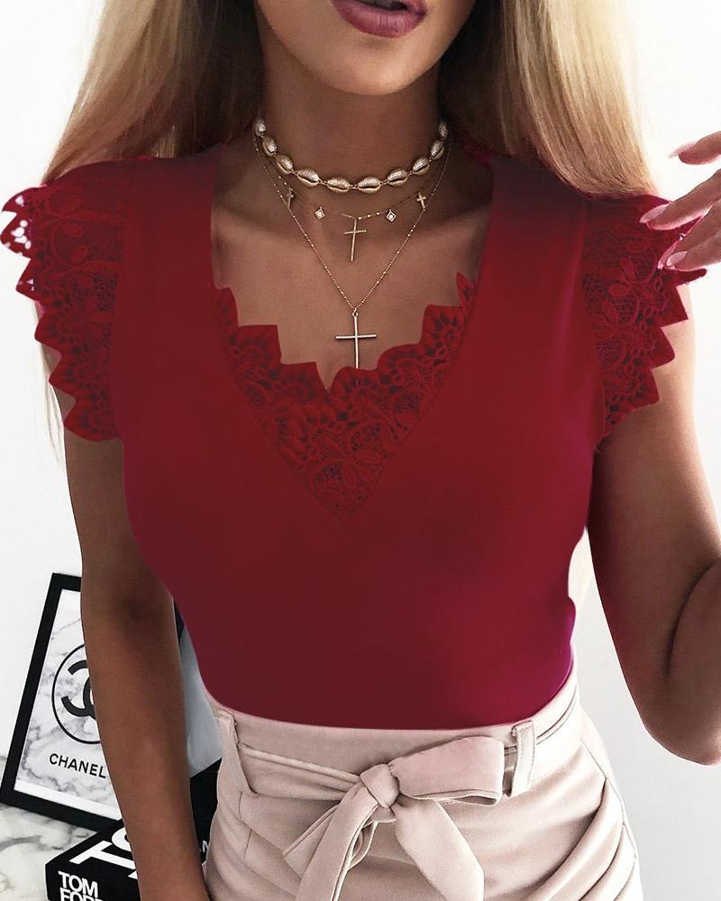 Women Fashion Sleeveless Lace Stitching Top фото