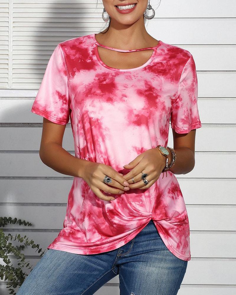 boutiquefeel / T-shirt com tiras de impressão de t-shirt casual