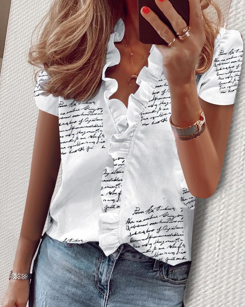 Print Short Sleeve Ruffles Casual Blouse фото
