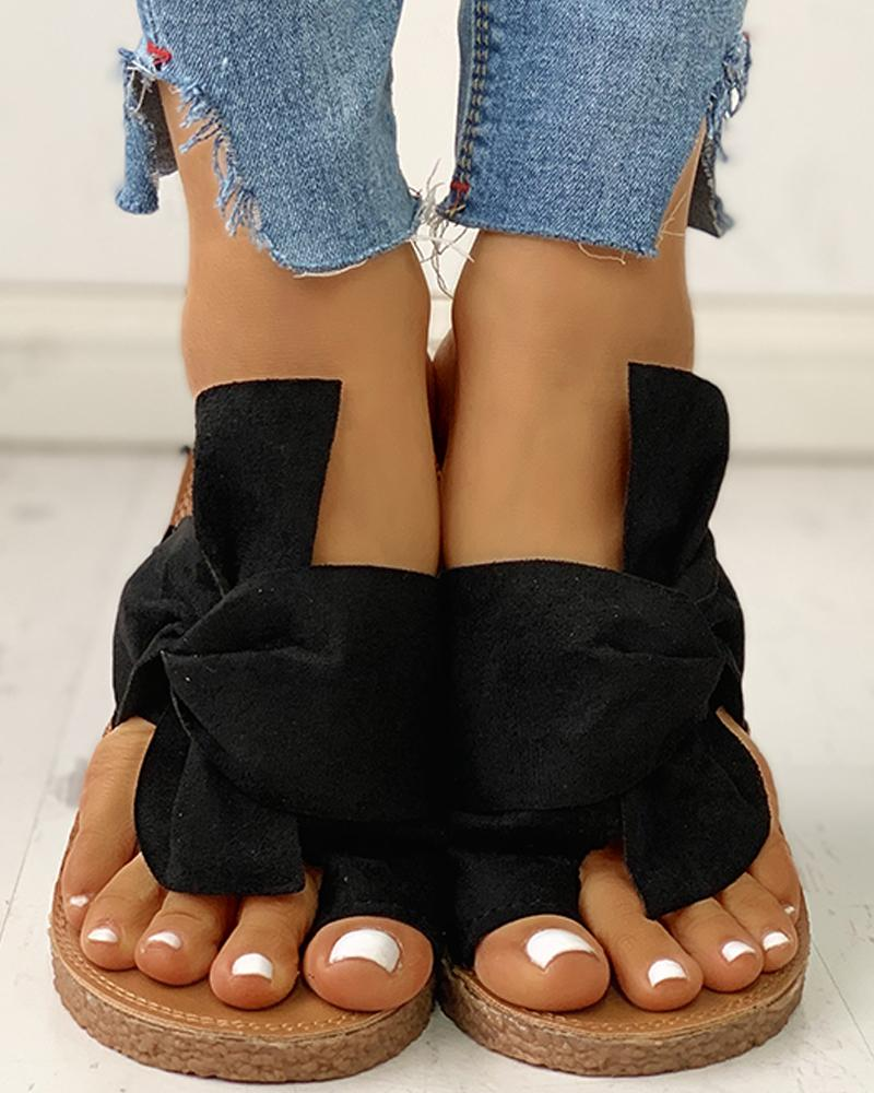 joyshoetique / Bowknot Toe Ring Non-slip Slippers