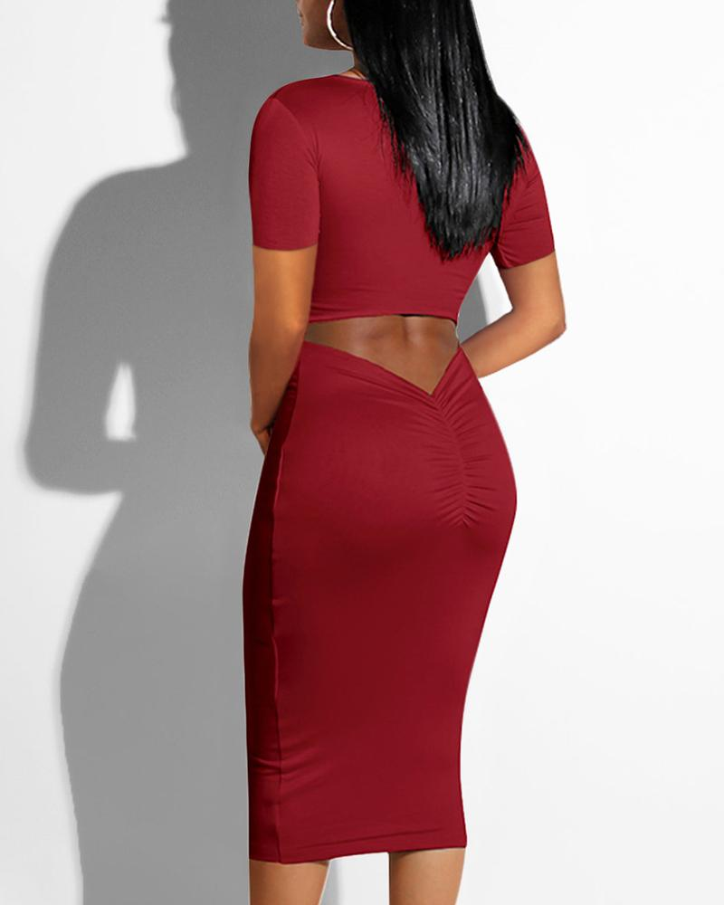 U-neck Cutout Ruched Back Bodycon dress фото