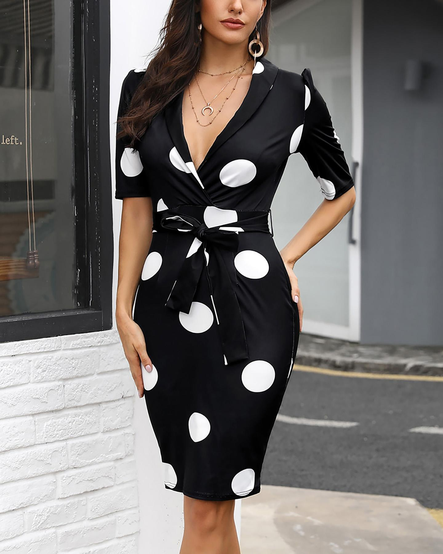 Notched Neck Dot Print Work Dress фото