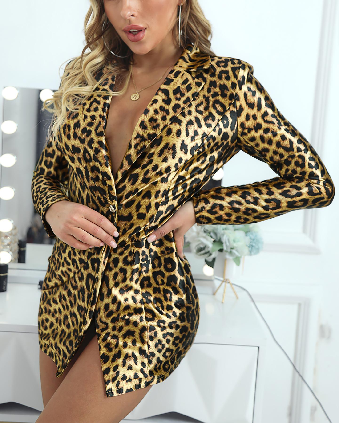 Leopard Print One Button Blazer фото
