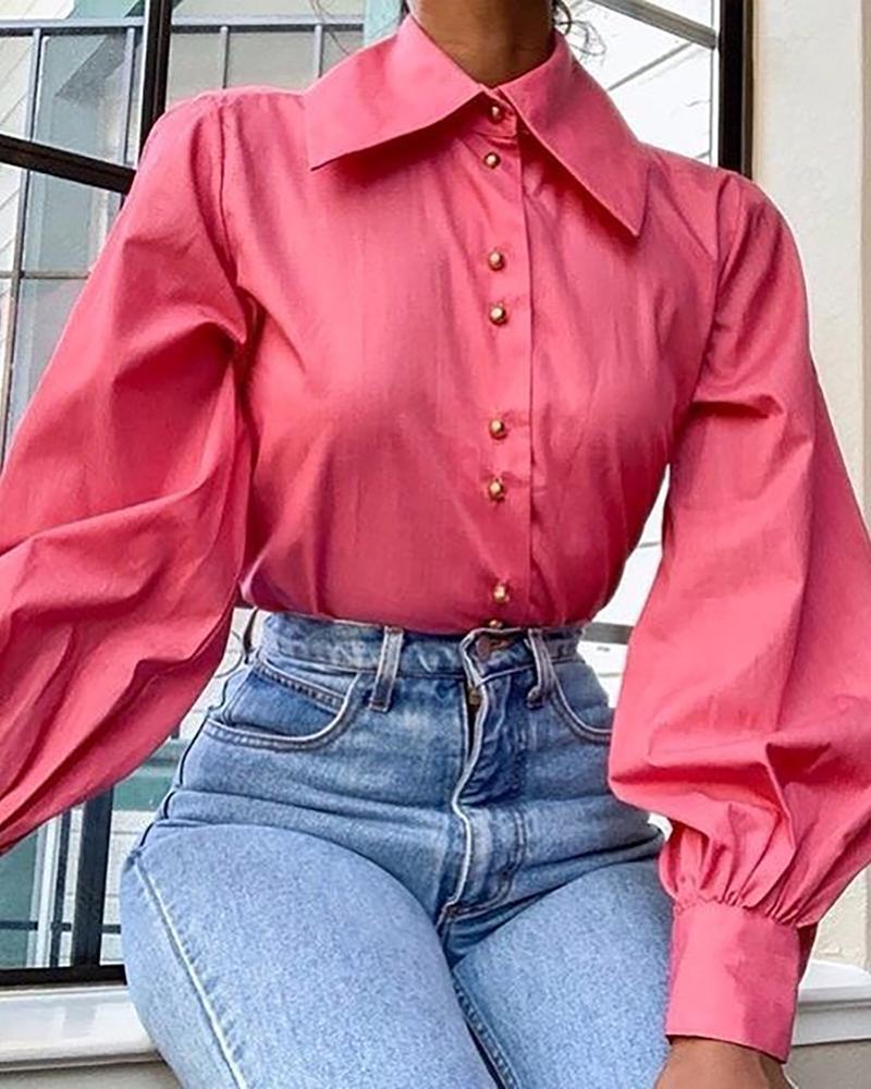 Solid Lantern Sleeve Casual Shirt фото