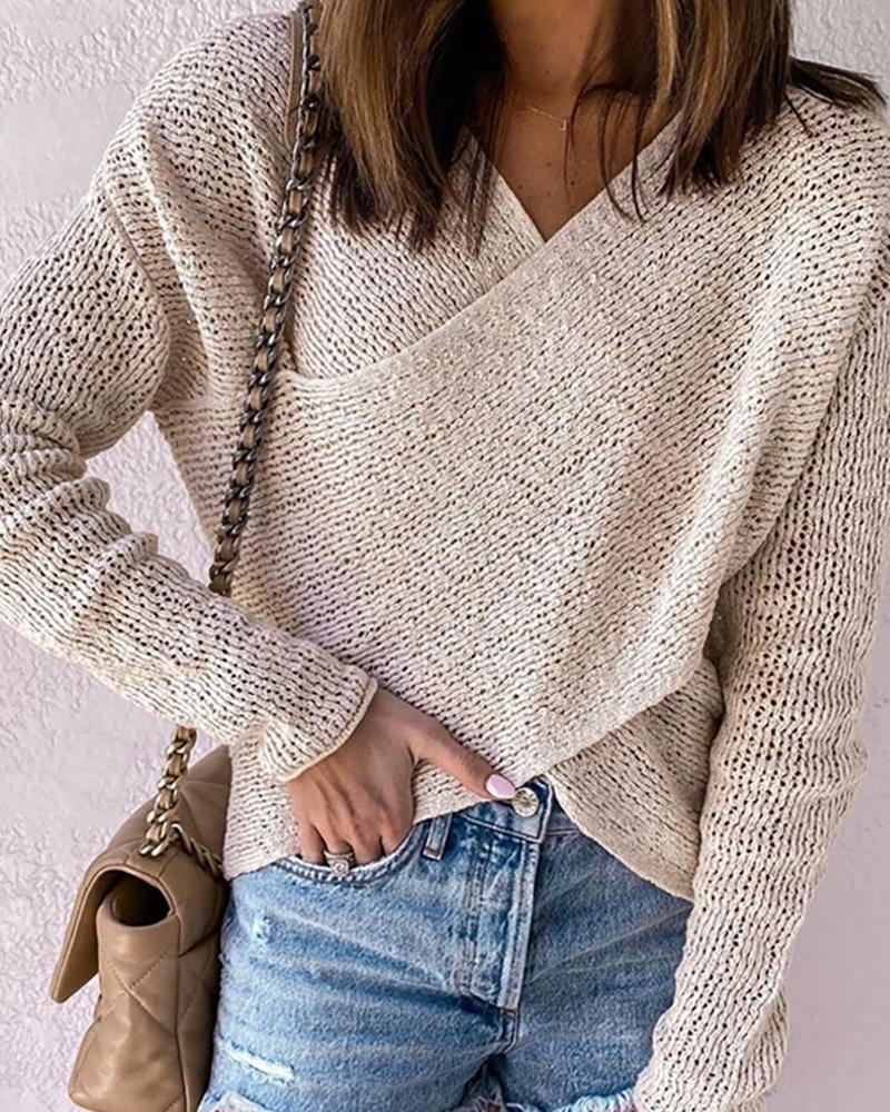 Crossover-front Hollow Out Cropped Sweater фото