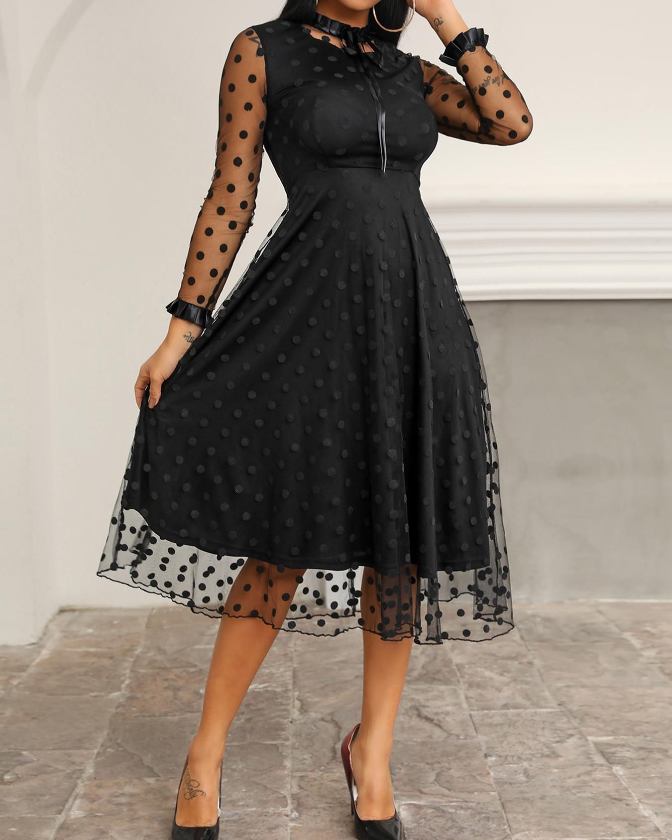 chicme / Polka Dot Sheer Mesh Long Sleeve Dress