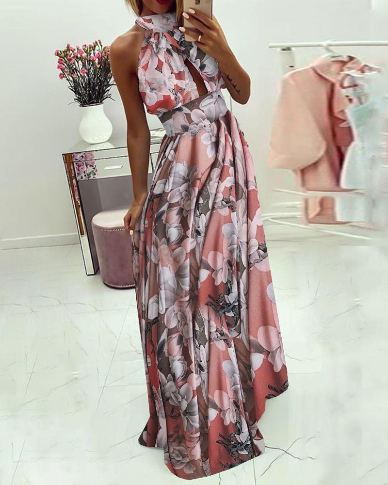chicme / Floral Print Sleeveless Maxi Dress