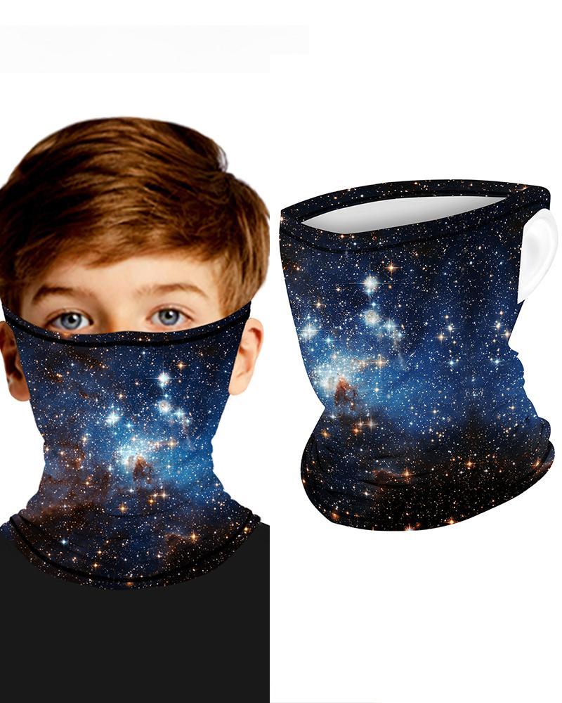 Sparkle Sky Print Breathable Ear Loop FaceBandana Headwrap For Children фото