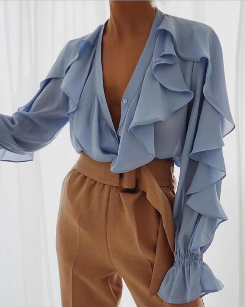 boutiquefeel / Blusa de manga larga con diseño de volantes