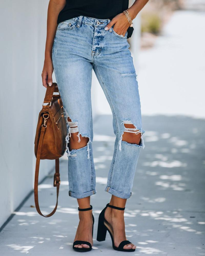 boutiquefeel / Jeans casual recortado com cintura alta