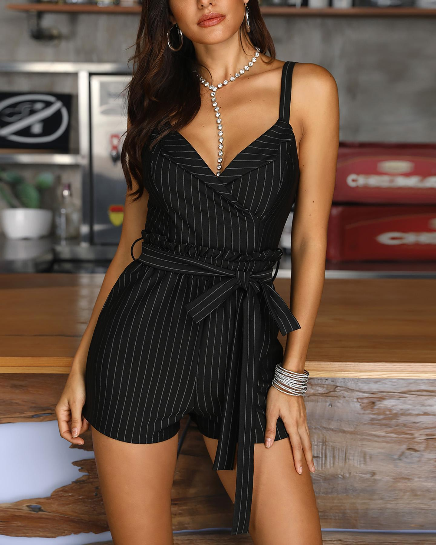 Striped Spaghetti Strap Casual Romper