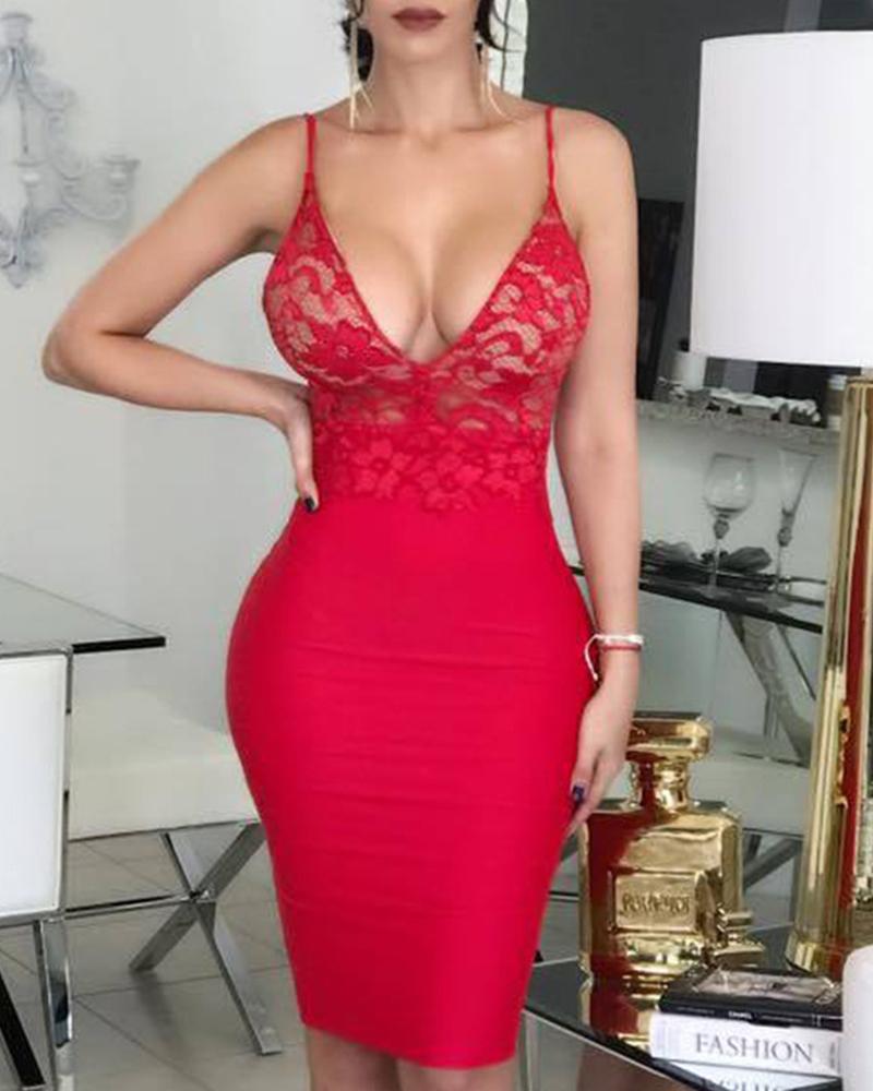ivrose / Open Back Lace Insert Bodycon Dress