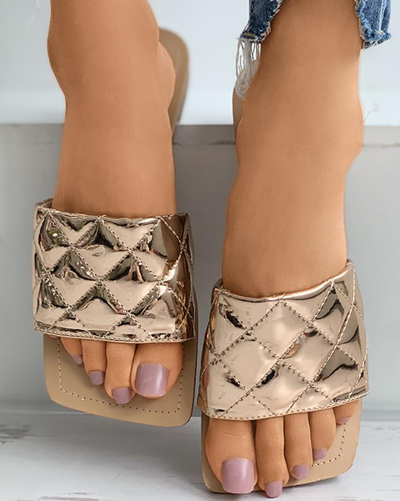 Quilted Square Toe Mule Sliders фото