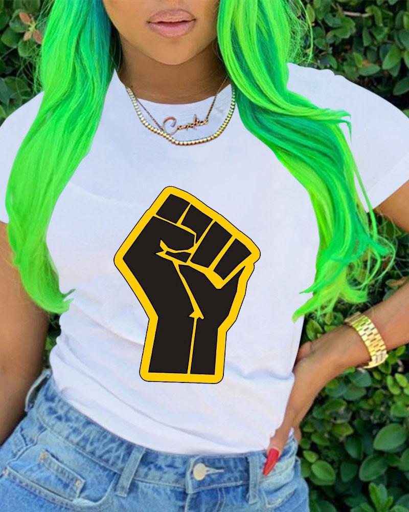 Slogan Print Short Sleeve Casual T-shirt фото