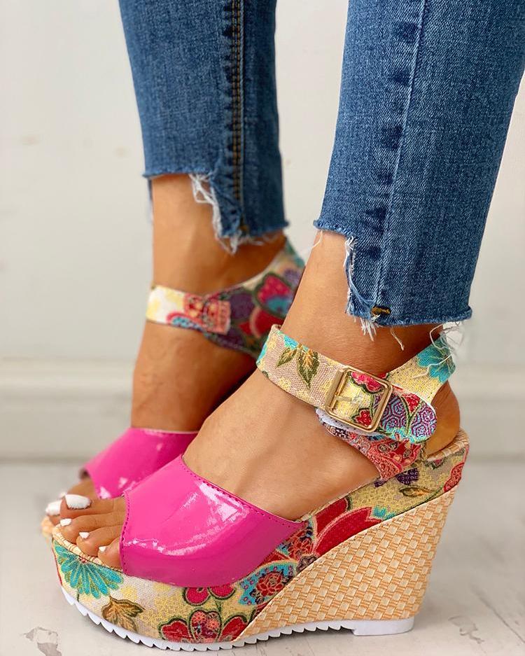Floral Peep-toe Platform Wedge Sandals