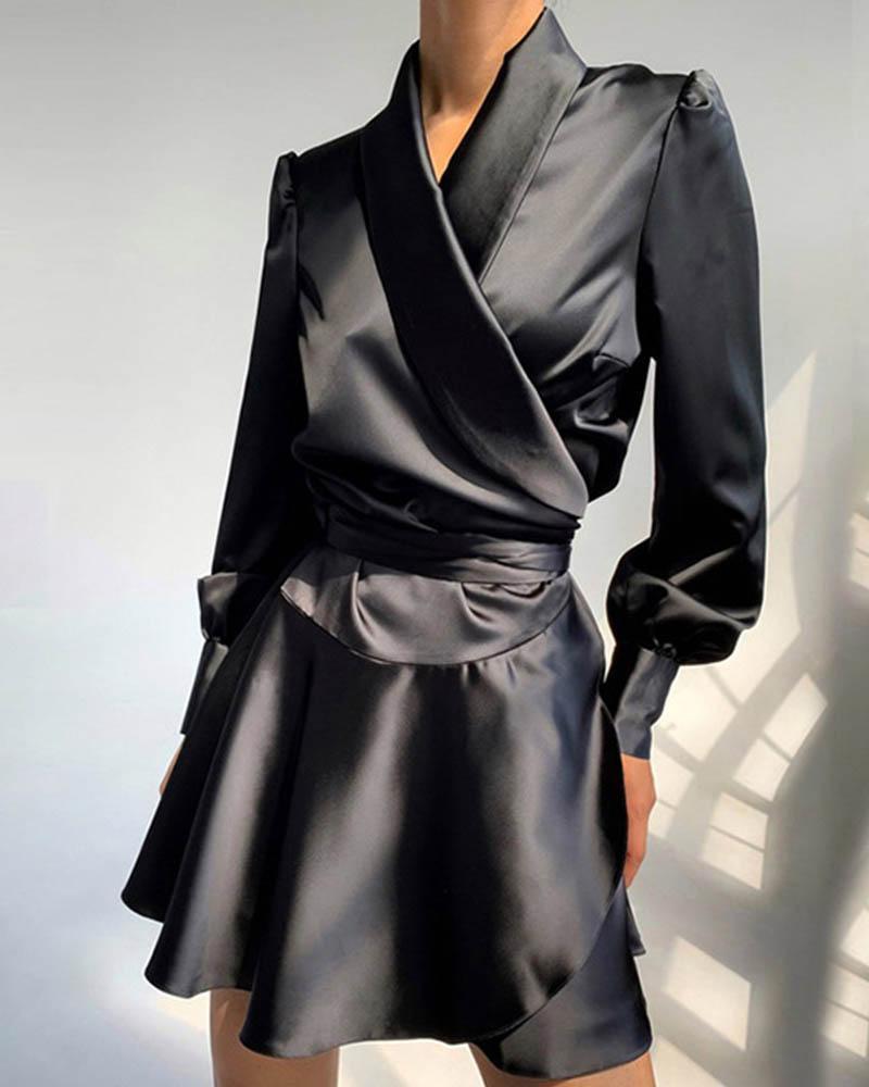 boutiquefeel / Vestido de manga larga de satén con detalle de volantes
