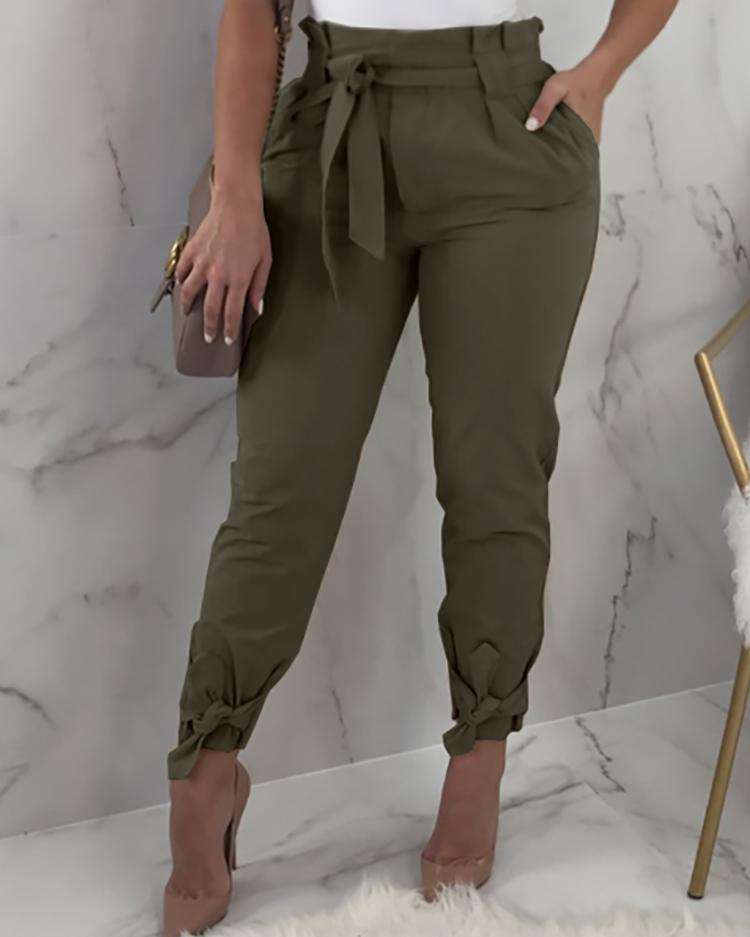 Frill Waist Belted Tied Ankle Pants