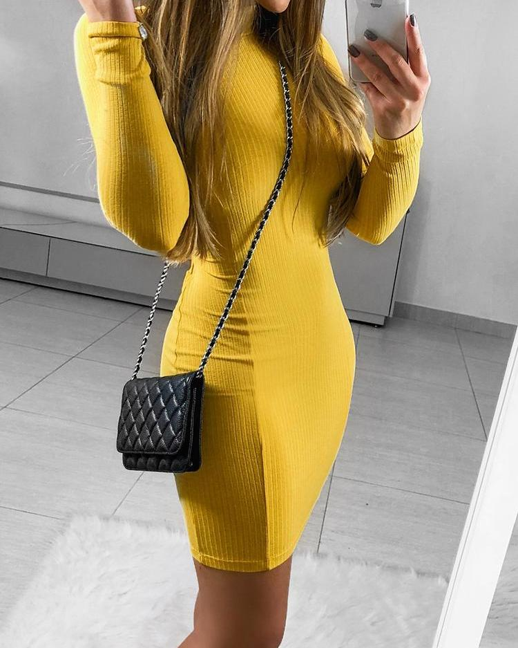 Solid Cut Out Back Bodycon Dress фото
