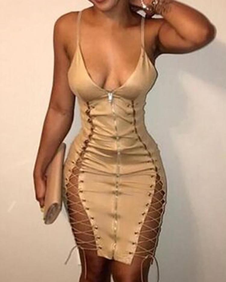 Spaghetti Strap Zipper Front Lace-up Midi Dress