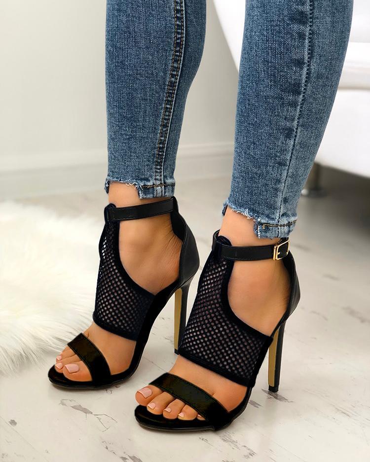 joyshoetique / Open Toe Thin Heeled Sandals