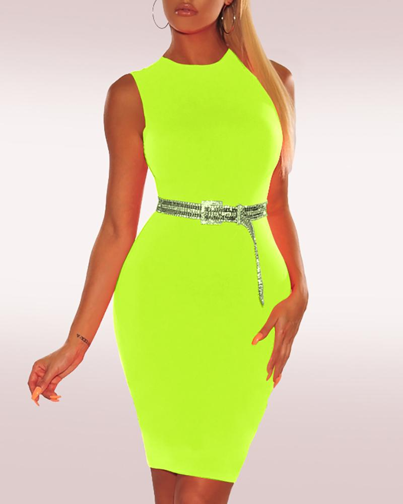 Solid Sleeveless Bodycon Dress фото